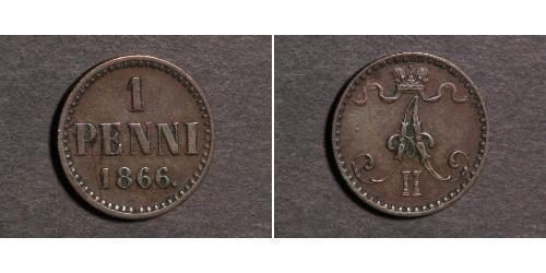 1 Penny Granducato di Finlandia (1809 - 1917) Rame Alessandro II (1818-1881)