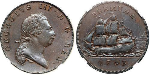 1 Penny Bermuda  Giorgio III (1738-1820)
