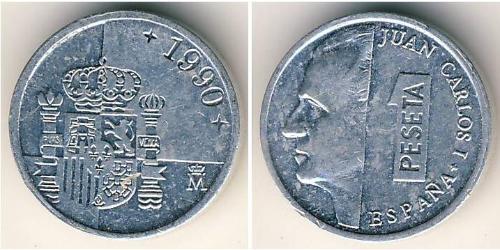 1 Peseta Kingdom of Spain (1976 - ) Aluminium Juan Carlos I of Spain (1938 - )