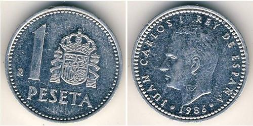 1 Peseta Kingdom of Spain (1976 - ) Aluminium Juan Carlos I of Spain (1938 - )