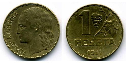 1 Peseta Second Spanish Republic (1931 - 1939) Brass