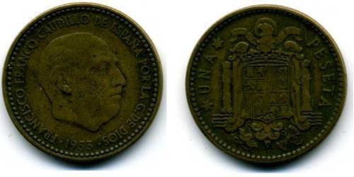 1 Peseta Francoist Spain (1936 - 1975) Kupfer