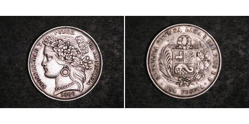1 Peseta Peru Silber