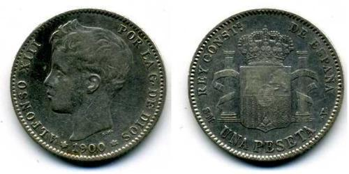 1 Peseta Kingdom of Spain (1874 - 1931) Silver Alfonso XIII of Spain (1886 - 1941)