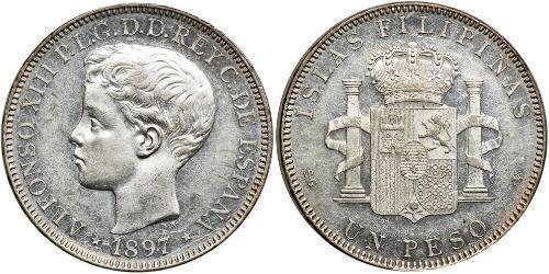 1 Peso 菲律宾 銀 阿方索十三世 (1886 - 1941)