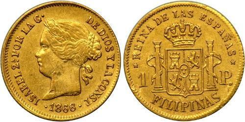 1 Peso Filippine Oro Isabella II of Spain (1830- 1904)