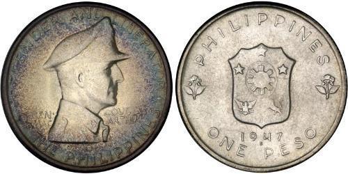 1 Peso Filipinas Plata Douglas MacArthur (1880 - 1964)