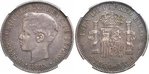 1 Peso Puerto Rico Plata Alfonso XIII of Spain (1886 - 1941)