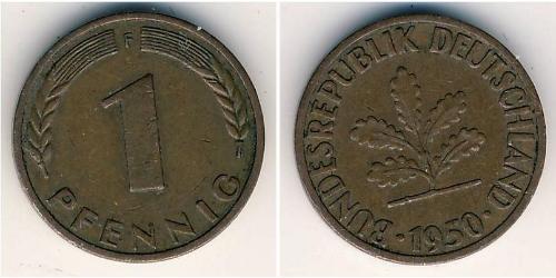 1 Pfennig 西德 (1949 - 1990) 青铜