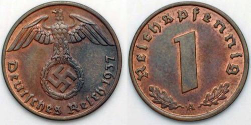 1 Pfennig Alemania nazi (1933-1945) Bronce