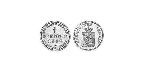 1 Pfennig Anhalt-Bernburg (1603 - 1863) Copper Alexander Karl, Duke of Anhalt-Bernburg (1805 – 1863)