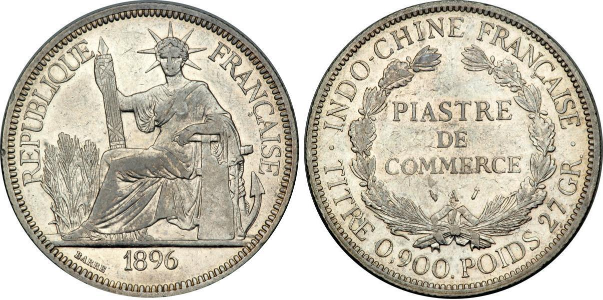 1 Piastre 1896 1913 French Indochina 1887 1954 Silver