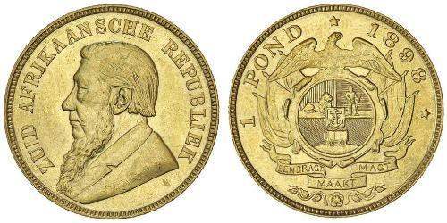 1 Pond Sudáfrica Oro Paul Kruger (1825 - 1904)