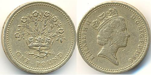 1 Pound United Kingdom (1922-) Brass/Nickel Elizabeth II (1926-)