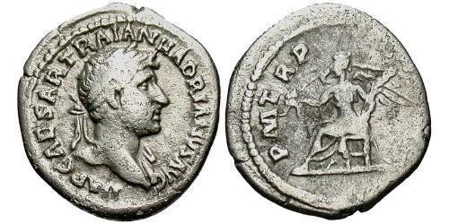 1 Quinarius Roman Empire (27BC-395) Silver Hadrian  (76 - 138)