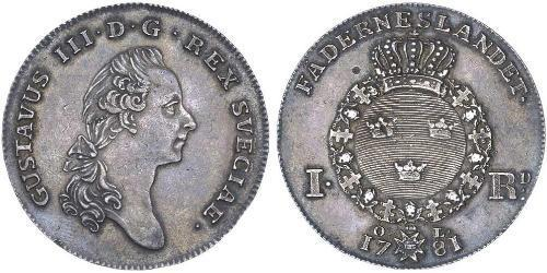 1 Riksdaler Suecia Plata Gustavo III de Suecia (1746 - 1792)
