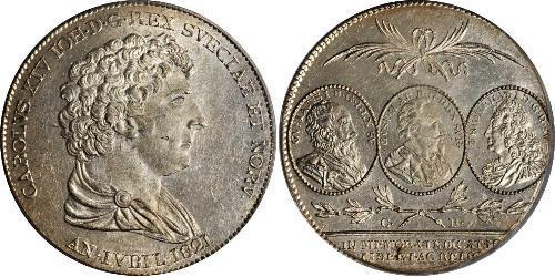 1 Riksdaler United Kingdoms of Sweden and Norway (1814-1905) Silver Charles XIV John of Sweden and Norway (1763-1844)