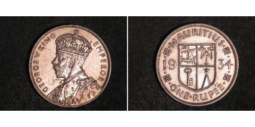 1 Rupee Mauritius 銀 乔治五世  (1865-1936)
