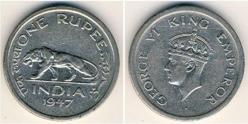 1 Rupee 英属印度 (1858 - 1947) 镍 乔治六世 (1895-1952)