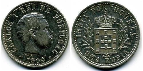 1 Rupee India portoghese (1510-1961) Argento Carlo I del Portogallo (1863-1908)