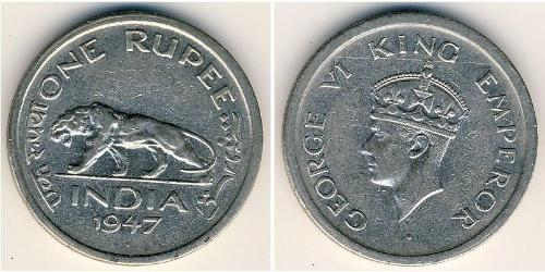 1 Rupee British Raj (1858-1947) Nickel George VI (1895-1952)