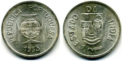1 Rupee Portuguese India (1510-1961) Silver