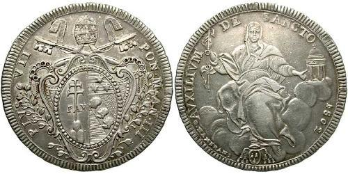 1 Scudo 教皇国 (754 - 1870) 銀 Pope Pius VII (1742 -1823)