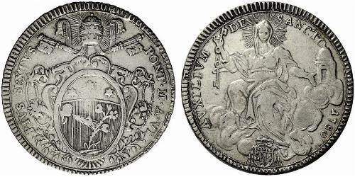 1 Scudo Vatican Silver Pope Pius VI ( 1717-1799)