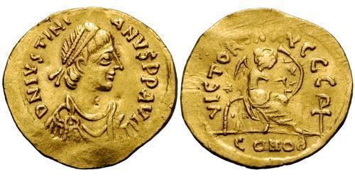 1 Semissis Byzantine Empire (330-1453) Gold Justinian I (482-565)