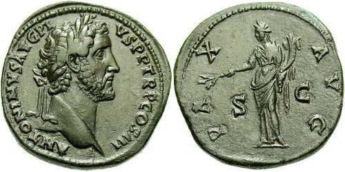 1 Sestertius Roman Empire (27BC-395) Bronze Antoninus Pius  (86-161)