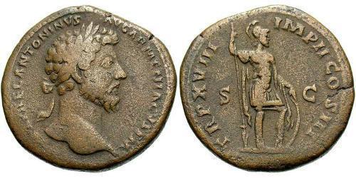1 Sestertius Roman Empire (27BC-395) Bronze Marcus Aurelius (121-180)