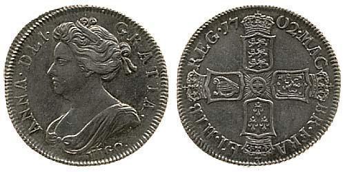 1 Shilling 大不列顛王國 (1707 - 1800) 銀 安妮 (英国女王) (1665-1714)