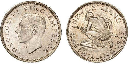 1 Shilling Nuova Zelanda Argento Giorgio VI (1895-1952)