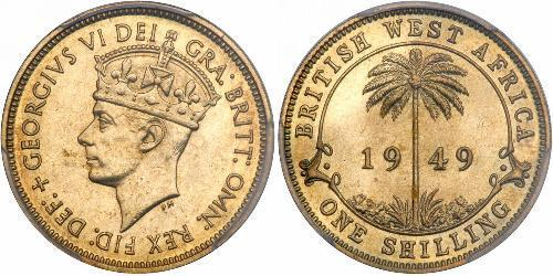 1 Shilling Africa occidentale britannica (1780 - 1960) Ottone Giorgio VI (1895-1952)