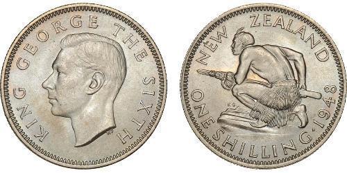 1 Shilling Nueva Zelanda Plata Jorge VI (1895-1952)