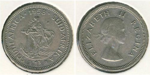 1 Shilling Sudáfrica Plata Isabel II (1926-)