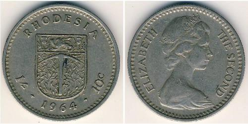 1 Shilling / 10 Cent Rodesia (1965 - 1979) Níquel/Cobre Isabel II (1926-)