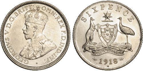 1 Sixpence 澳大利亚 銀 乔治五世  (1865-1936)