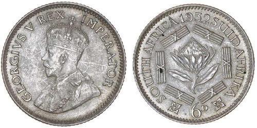 1 Sixpence Sudáfrica Plata Jorge V (1865-1936)