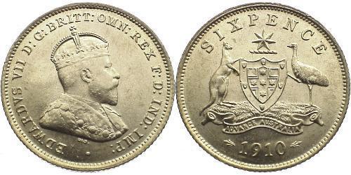 1 Sixpence Australia (1788 - 1939) Silver Edward VII (1841-1910)