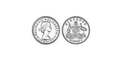1 Sixpence Australia (1939 - ) Silver Elizabeth II (1926-)