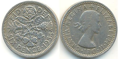 1 Sixpence / 6 Penny Feriind Kiningrik (1922-) Cuivre/Nickel Elizabeth II (1926-)