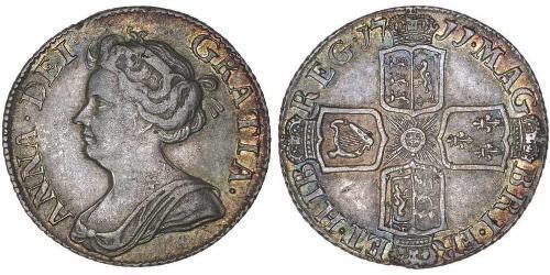 1 Sixpence / 6 Penny Reino de Gran Bretaña (1707-1801) Plata Ana de Gran Bretaña(1665-1714)