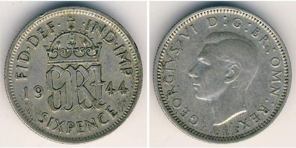 1 Sixpence / 6 Penny Vereinigtes Königreich (1922-) Silber George V (1865-1936)
