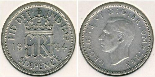 1 Sixpence / 6 Penny United Kingdom (1922-) Silver George V of the United Kingdom (1865-1936)