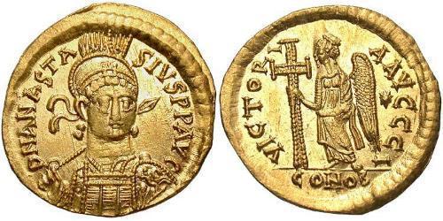 1 Solidus Byzantine Empire (330-1453) Gold Anastasius I (430-518)