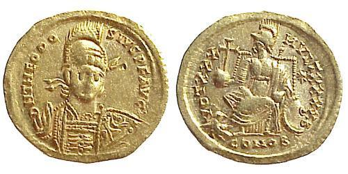 1 Solidus Byzantine Empire (330-1453) Gold Theodosius II (401-450)