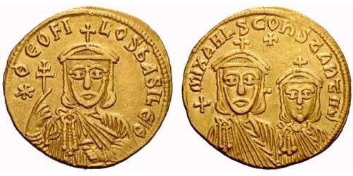 1 Solidus Byzantine Empire (330-1453) Gold Theophilus (813-842)