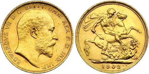 1 Sovereign 大不列颠及爱尔兰联合王国 (1801 - 1922) 金 爱德华七世 (1841-1910)