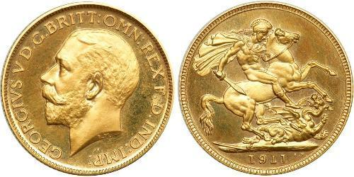 1 Sovereign Regno Unito (1707 - ) Oro Giorgio V (1865-1936)